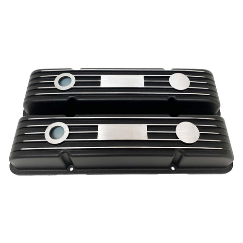ansen custom engraving, small block chevy classic custom valve covers, black, front view