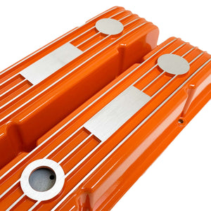 ansen custom engraving, small block chevy classic custom valve covers, orange, angled view