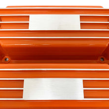 Load image into Gallery viewer, ansen custom engraving, small block chevy classic custom valve covers, orange, close up view