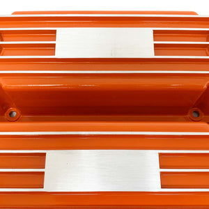 ansen custom engraving, small block chevy classic custom valve covers, orange, close up view