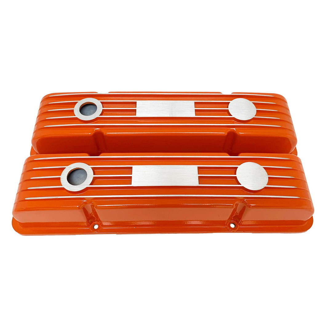 ansen custom engraving, small block chevy classic custom valve covers, orange, front view