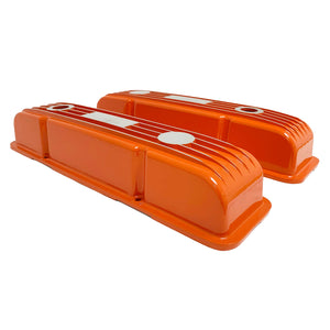 ansen custom engraving, small block chevy classic custom valve covers, orange, side profile view