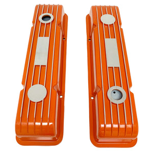 ansen custom engraving, small block chevy classic custom valve covers, orange, top view