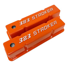 Load image into Gallery viewer, ansen custom engraving, 383 stroker small block chevy orange, angled view