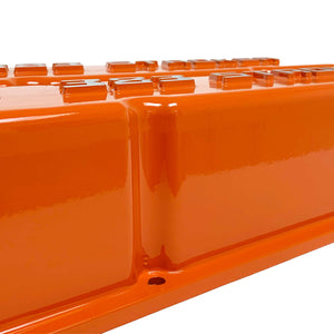 ansen valve covers, 383 stroker orange, close up view
