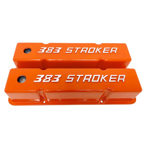 ansen valve covers, 383 stroker orange, front view