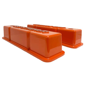 ansen valve covers, 383 stroker orange, side profile view