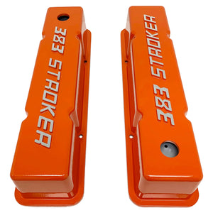 ansen valve covers, 383 stroker orange, top view
