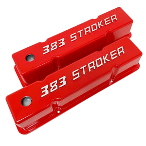 ansen valve covers, 383 stroker, small block chevy, red, angled view