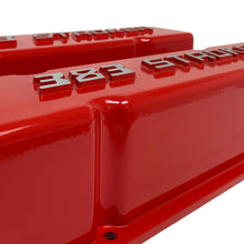 Load image into Gallery viewer, ansen valve covers, 383 stroker, small block chevy, red, close up view