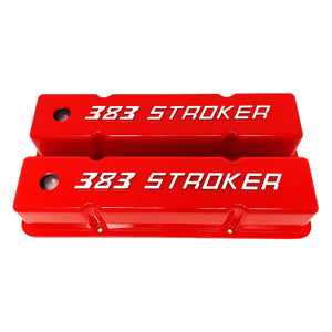 ansen custom engraving, small block chevy 383 stroker tall red powder coat, front view