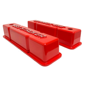ansen valve covers, 383 stroker, small block chevy, red, side profile view