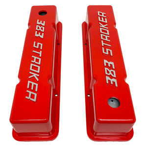 ansen valve covers, 383 stroker, small block chevy, red, top view