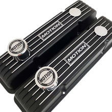 Load image into Gallery viewer, ansen custom engraving, baldwin motion valve covers, small block chevy, black, angled view