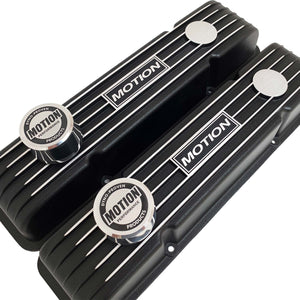 ansen custom engraving, baldwin motion valve covers, small block chevy, black, angled view