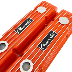 ansen custom engraving, small block chevy logo valve covers, orange, angled view