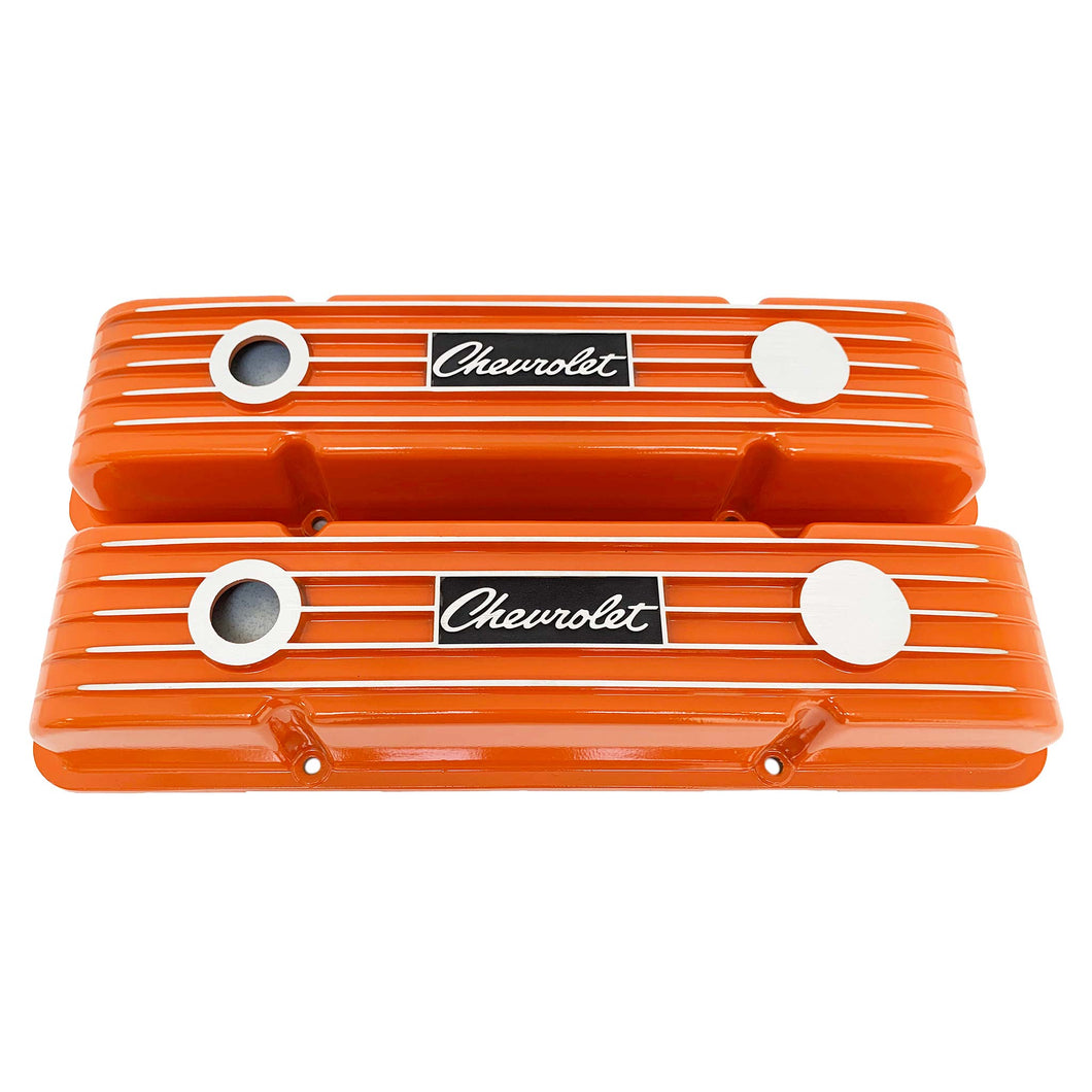 ansen custom engraving, small block chevy logo valve covers, orange, front view