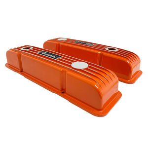 ansen custom engraving, small block chevy logo valve covers, orange, side profile view