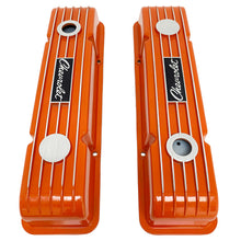 Load image into Gallery viewer, ansen custom engraving, small block chevy logo valve covers, orange, top view