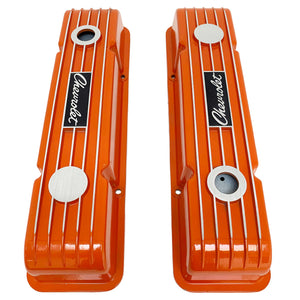 ansen custom engraving, small block chevy logo valve covers, orange, top view