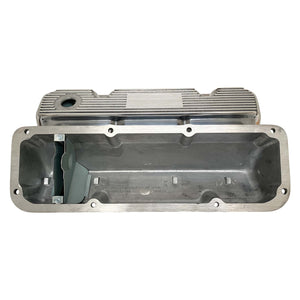 ansen custom valve covers, ford, 351 cleveland, polished, underside view