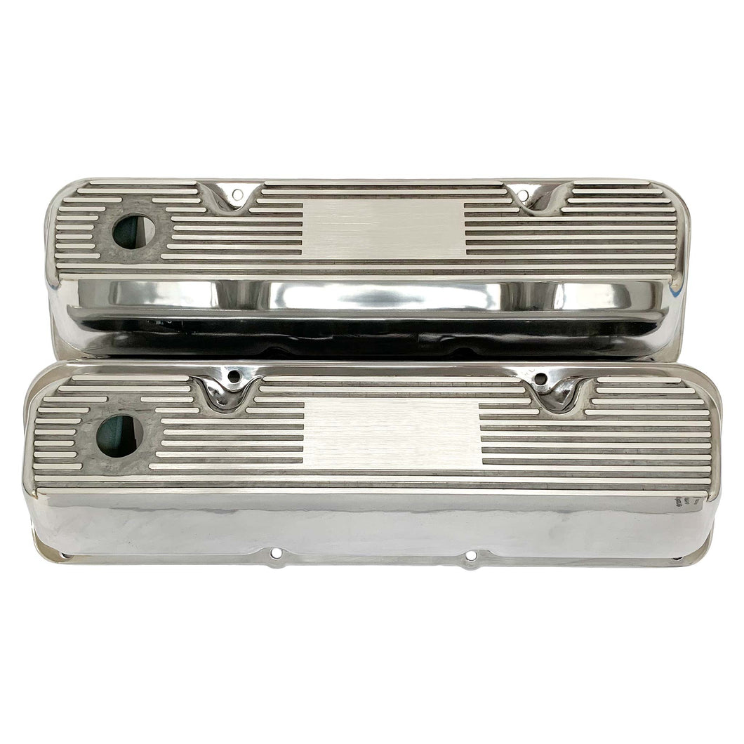 ansen custom valve covers, ford, 351 cleveland, polished, front view