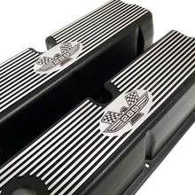 Load image into Gallery viewer, ansen custom engraving, ford 289 american eagle tall valve covers, black, angled view