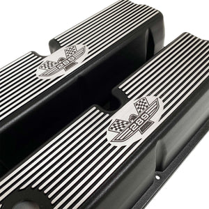ansen custom engraving, ford 289 american eagle tall valve covers, black, angled view