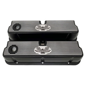 ansen custom engraving, ford 289 american eagle tall valve covers, black, front view