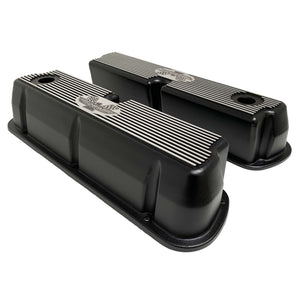ansen custom engraving, ford 289 american eagle tall valve covers, black, side profile view