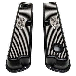 ansen custom engraving, ford 289 american eagle tall valve covers, black, top view
