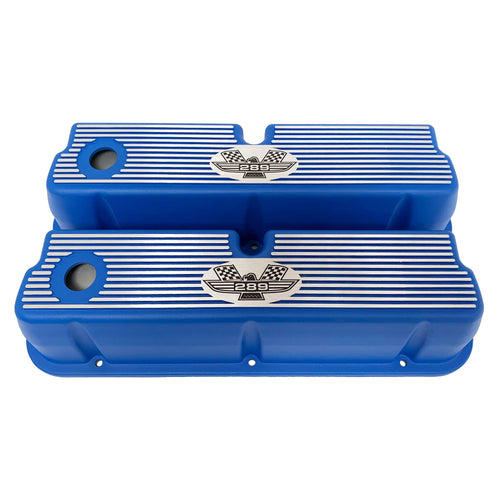 ansen custom engraving, ford 289 american eagle tall valve covers, blue, front view