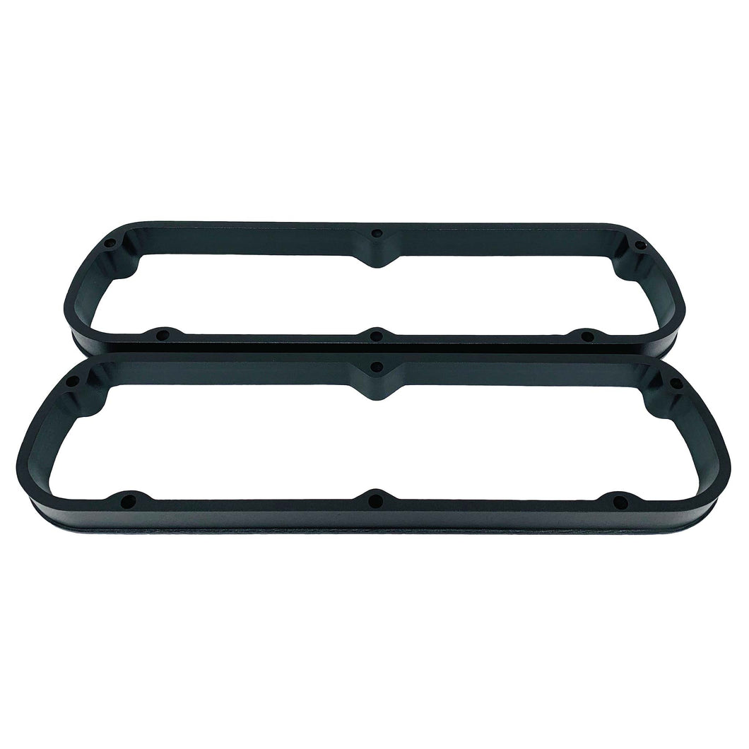 ansen valve cover spacers, ford, 289, black powder coat, front view