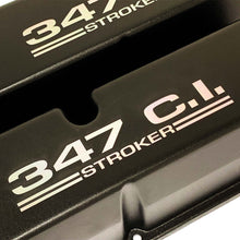 Load image into Gallery viewer, ansen valve covers, ford, 347 c.i. stroker, laser engraved, black powder coat, close up view