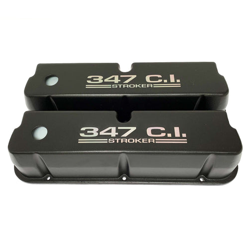 ansen valve covers, ford, 347 c.i. stroker, laser engraved, black powder coat, front view