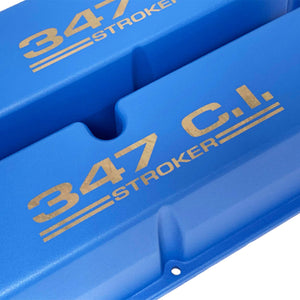 ansen valve covers, ford, 347 c.i. stroker, laser engraved, blue powder coat, close up view