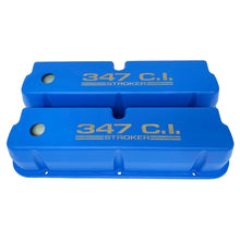 Load image into Gallery viewer, ansen valve covers, ford, 347 c.i. stroker, laser engraved, blue powder coat, front view