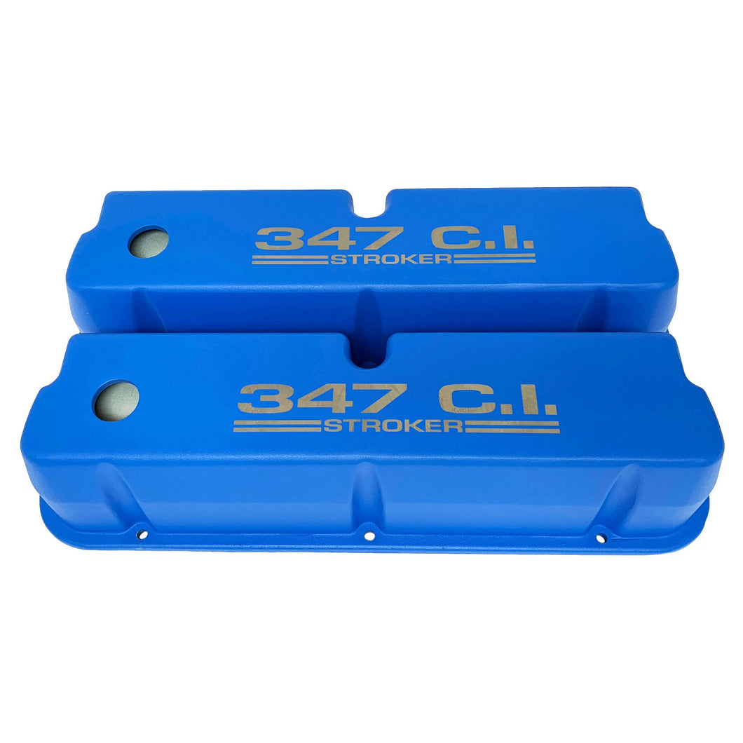 ansen valve covers, ford, 347 c.i. stroker, laser engraved, blue powder coat, front view