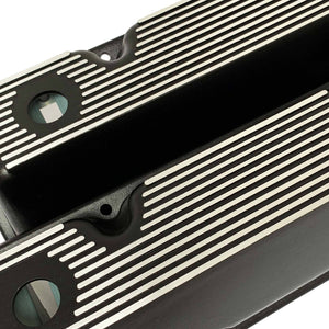 ansen valve covers, ford, 351 cleveland, all fins, black powder coat, close up view
