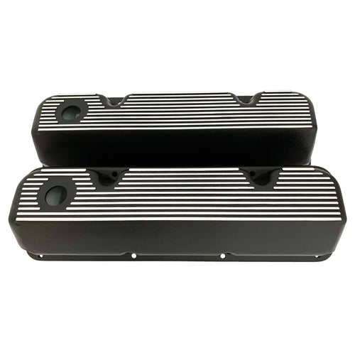 ford 351 cleveland valve covers, finned, black, ansen usa, front view