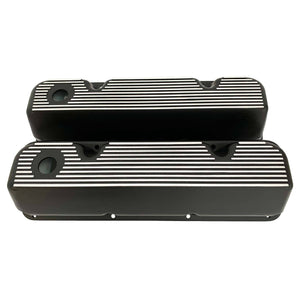 ansen valve covers, ford, 351 cleveland, all fins, black powder coat, front view