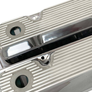 ansen valve covers, ford, 351 cleveland, all fins, polished, close up view