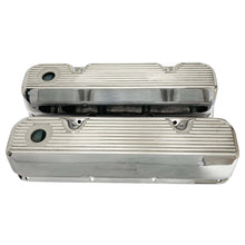 Load image into Gallery viewer, ford 351 cleveland valve covers, finned, polished, front view