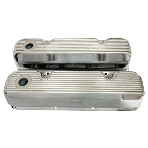 ford 351 cleveland valve covers, finned, polished, front view
