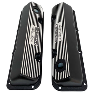 ansen custom engraving, ford carroll shelby signature valve covers, black, top view