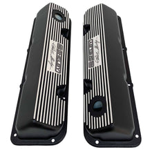 Load image into Gallery viewer, ansen valve covers, ford, 351 cleveland, carroll shelby signature logo, laser engraved, black powder coat, top view