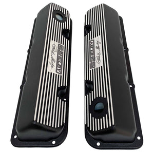 ansen valve covers, ford, 351 cleveland, carroll shelby signature logo, laser engraved, black powder coat, top view