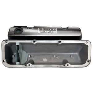 ansen valve covers, ford, 351 cleveland, carroll shelby signature logo, laser engraved, black powder coat, underside view