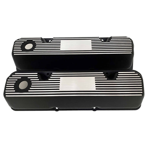 ansen custom engraving, ford 351 cleveland custom valve covers, black, front view