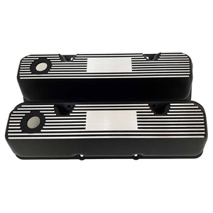 ansen custom valve covers, ford, 351 cleveland, laser engraved, black powder coat, front view